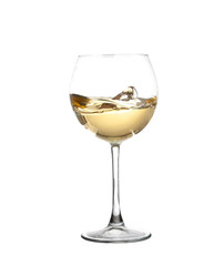 WHITE wine swirling in a goblet wine glass, isolated on a white