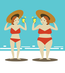 Two women relaxing on the beach. flat character design. vector illustration