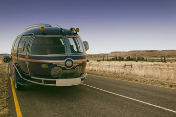 futuristic van on the road summer hollyday