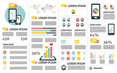 Mobile phone analysis. flat infographic design elements. vector