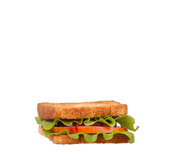 Sandwich with Tomatoes, Ham and Cheese isolated on white