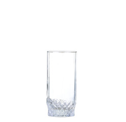 Empty glass for water, juice or milk on white background