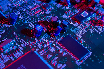 Computer electronic mainboard colorfully lighted