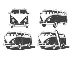 Retro Travel buses set. Design elements.