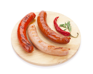 Various grilled sausages with spices
