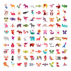Animals, birds, fishes and insects large vector icon set.