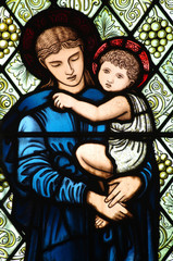 Fototapete - Mother Mary with Jesus in her arms