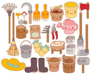 Set of adorable garden tools cartoon  - Vector file EPS10