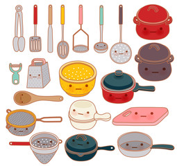 Collection of lovely kitchenware  - Vector file EPS10