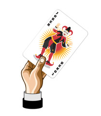 Vector Joker game card in hand