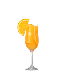 Orange juice and slices of orange isolated on