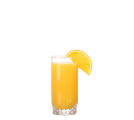 collage,pouring Orange juice and slices of orange isolated