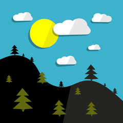 Hills Vector Landscape and Sun with Trees