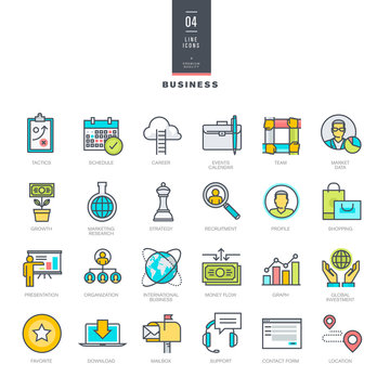 Set of line modern color icons for business