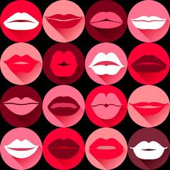 Flat design of lips