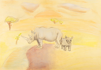 children drawing - rhinoceros with baby rhino