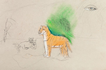 children unfinished drawing - tigress with cubs