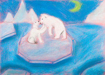 children drawing - bear with a cub on an ice floe