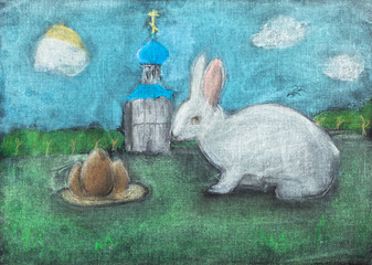 children drawing of Easter symbols by dry pastel