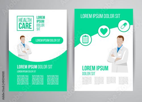healthcare brochure with doctor flyer design medical concept for clinic marketing stock. Black Bedroom Furniture Sets. Home Design Ideas