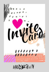 Hand drawn design concept. Invite card for wedding or happy birthday.