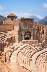 Roman theatre in Cartagena, Spain with people inside