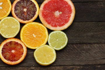 Fresh slices of different types of citrus