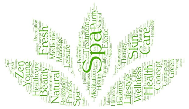 Spa word cloud in a shape of lotus
