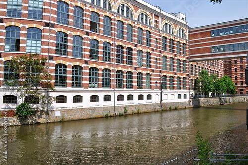 Leipzig Fluss wohnraum und ateliers am fluss leipzig stockfotos und lizenzfreie