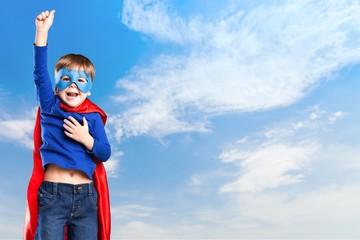 Kid, superhero, cape.