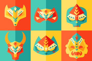 Ethnic, Origami, Carnival Mask Vector Illustration