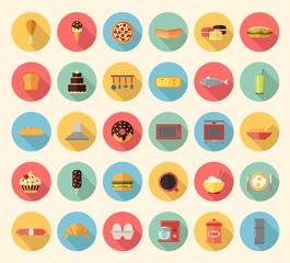 Food, kitchen appliances and kitchenware flat design icons set