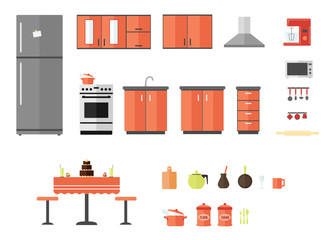 Kitchen furniture interior, appliances, objects and kitchenware flat design icons set. vector illustration
