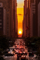 Manhattanhenge in New York City along the 42nd street