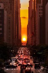 Manhattanhenge in New York City along the 42nd street