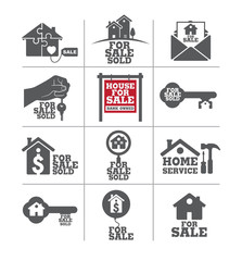 Real estate for sale icon set.