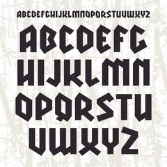 Sans serif geometric font in gothic style