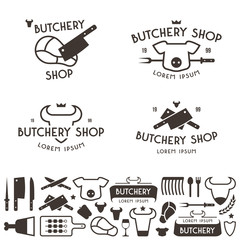 Set of labels templates and logo of butchery shop