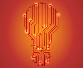 bulbs design over orange background vector illustration