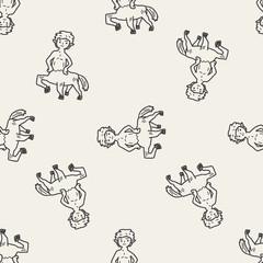 centaur doodle seamless pattern background