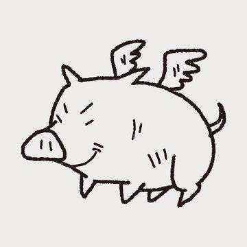 flying pig doodle