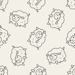 sheep doodle seamless pattern background