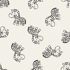 zebra doodle seamless pattern background