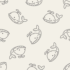 whale doodle seamless pattern background