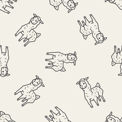 llama doodle seamless pattern background