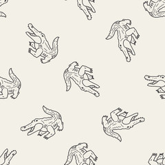 crocodile doodle seamless pattern background
