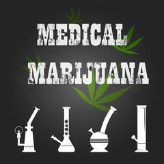 vector medical marijuana sign and bong icon on chalkboard
