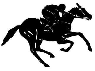 grunge horse rider, vector illustration