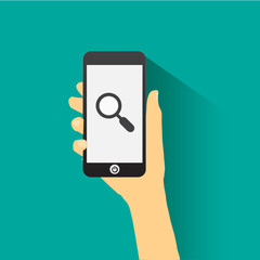 Hand holding smart phone flat design S E O concept.