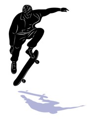 skateboarder jumping, vector illustration